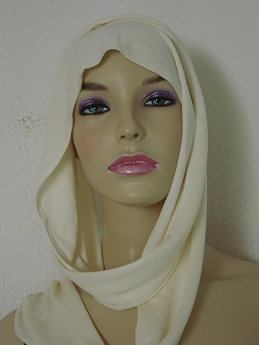 naturwaren-online.de zijden sjaal, 200x25cm, ecru, jersey-kwaliteit 100% zijde