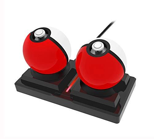 Spixy Ladeständer für Pokeball Plus Controller, Ladestation mit USB-Kabel, Doppel Poke Ball plus Halterung Kompatibel für Nintendo Switch Zubehör Kit (Schwarz)