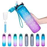 botella de agua deportiva de 1000 ml, a prueba de fugas, taza de agua deportiva con marcador de tiempo, botella para yoga, bicicleta, fitness, con cepillo de limpieza, abierto con 1 clic