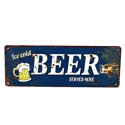 'Ice Cold Beer Served Here' - Metal Novelty Wall Plaque/Plate - Vintage Retro Decor