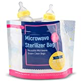15 Pack Microwave Baby Bottle Sterilizer Bags - 400 Uses Per Pack - Travel Baby Bottle Cleaner Microwave Sterilizer Bag - Breast Feeding Baby Travel Accessories - Use with Soothers & Teethers