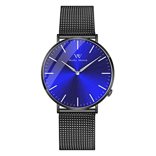 Welly Merck Swiss Movement Sapphire Crystal 42mm Men Luxury Watch Minimalist Ultra Thin Analog Wrist Watch 20mm Stainless Steel Mesh Band