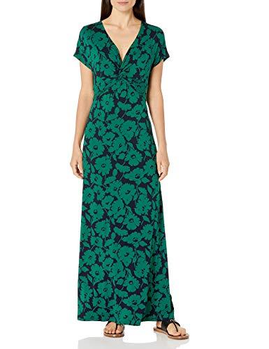Amazon Essentials Twist Front Maxi Dress, Floral Abstracto Verde Azul Marino, US S (EU S - M)