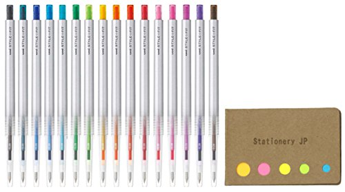 Uni Style Fit Retractable Gel Ink Pen, Slim & Stylish Body, Extra Fine Point 0.5mm, 16 Color Ink, Sticky Notes Value Set