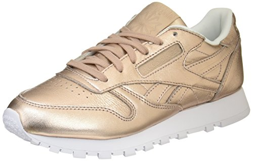 Reebok Damen Cl Lthr L Gymnastikschuhe, Gold (Pearl Met-Peach/White), 35 EU