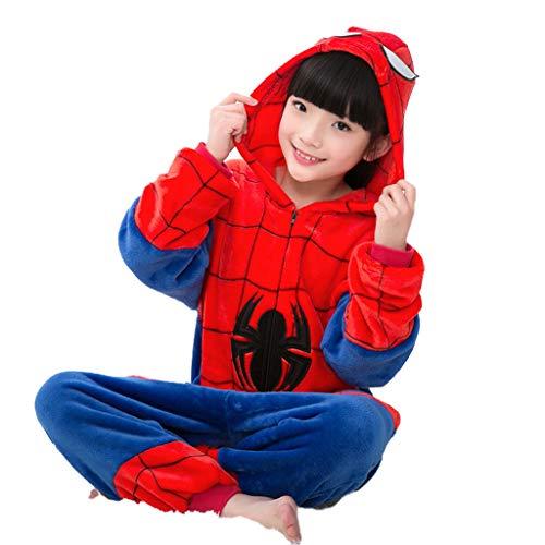 YUANY Kinder Spiderman Einteiliger Pyjama Jungen Onesies Kapuzen Fleece Supersoft Flanell Nachtwäsche,Spiderman -120