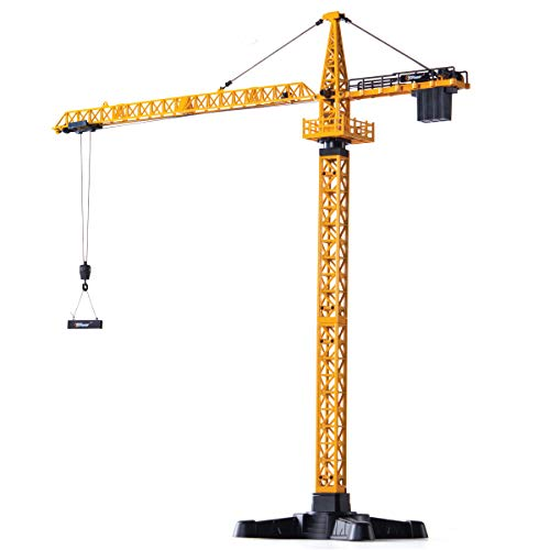 Top Race Metal Diecast Tower Crane Metal Construction Vehicles Model Toy for Kids and Adults 1:50 Scale TR-134D
