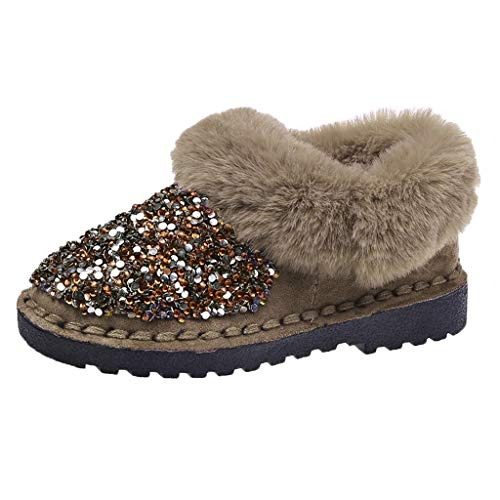 Women Boots Bowknot Fur Lined Winter Sequins Flat Boots Casual Platform Ankle Booties Anti-Slip Plush Moccasins Snow Boots