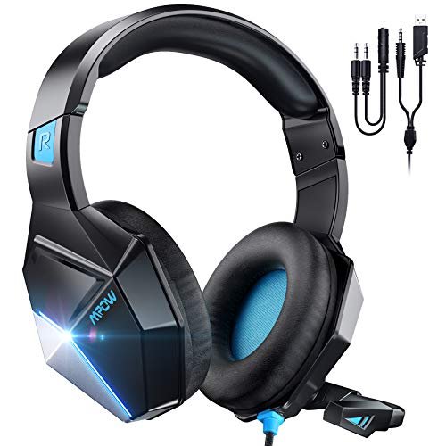 Mpow EG10 Gaming Headset für PS4 PS5 Xbox one PC Switch, Noise Cancelling-Mikrofon, 3.5mm Gaming Headset, 3D Surround Sound mit 50MM Lautsprechertreiber, LED Lichter, Blau (Version 2021)