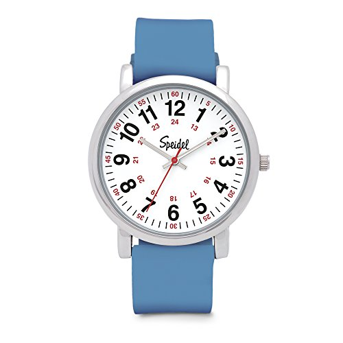 Speidel Scrub Watch for Medical Professionals with Blue Silicone Rubber Band - Easy to Read Timepiece with Red Second Hand, Military Time for Nurses, Doctors, Surgeons, EMT Workers, Students and More