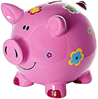 Mousehouse Gifts Large Big Pink Pig Money Box Toy Coin Savings Piggy Bank with Flowers for Kids Adults Children Present Gift for Girls