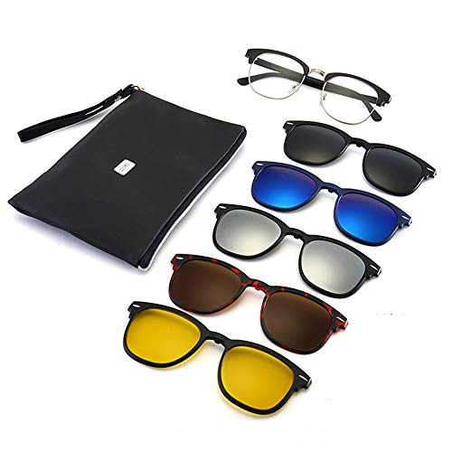 GLASSES Polarisierte Sonnenbrille für Männer und Frauen, 5-in-1-Magnetclip-Sonnenbrillenset, polarisierte Angelbrille/reflektierende Quecksilberbrille/Nachtsichtbrille