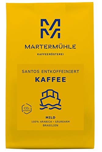 Martermühle | Kaffee Santos entkoffeiniert (1kg) | Ganze Bohnen | Premium Kaffeebohnen aus Brasilien | Schonend geröstet | Kaffee säurearm | 100% Arabica