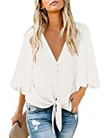 Maolijer Women's V Neck 3/4 Bell Sleeve Button Tops Loose Tie Front Chiffon Blouses Casual Shirts White Large