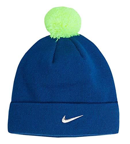 Nike Boy's Pom Pom Beanie (Blue Jay(8A2639-U72)/Volt, 4/7)