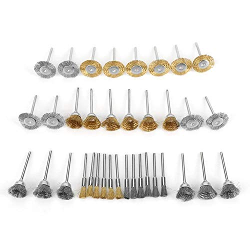 Conkergo 36pcs Brass Wire Steel Wire Brush Set Pen Flat Cup Shaped Polishing Wheel Rotary Tools Kit