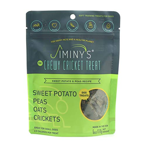 Jiminy's Cricket Protein Sweet Potato and Pea Soft & Chewy Dog Training Treats   100% Made in The USA   Gluten-Free   Sustainable   Limited Ingredients   High Protein   Hypoallergenic