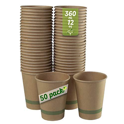 GoBeTree 50 Vasos Desechables café Papel Kraft con PLA de 360 ml...