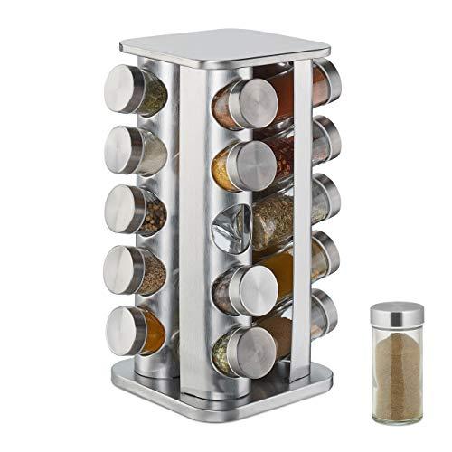 Relaxdays Gewürzkarussell mit 20 Gewürzgläsern, 360° drehbar, Edelstahl, Glas, Gewürzregal HxD 34 x 19 cm, eckig, silber