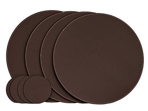 Nikalaz Lot de 4 Set de Table Rond et 4 Desous de Verres, Set de Table 33 cm de Diamètre et sous-bock 10 cm, Cuir Naturel Recyclé (Marron)