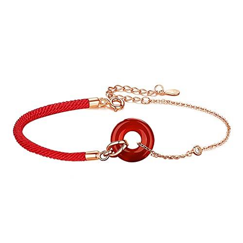 Pulsera de hebilla segura de ágata roja pulsera de hebilla segura de cuerda roja de año natal retro de plata esterlina