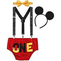 FYMNSI Infantil Bebé Niño 1er Traje de Cumpleaños Cake Smash Outfit Pantalones Cortos + Tirantes Elásticos y Ajustables + Pajarita + Ratón Oreja Diadema Set de 4 Piezas Sesión de Fotos Rojo One 12-18