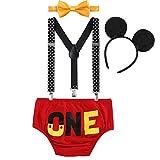 FYMNSI Infantil Bebé Niño 1er Traje de Cumpleaños Cake Smash Outfit Pantalones Cortos + Tirantes...