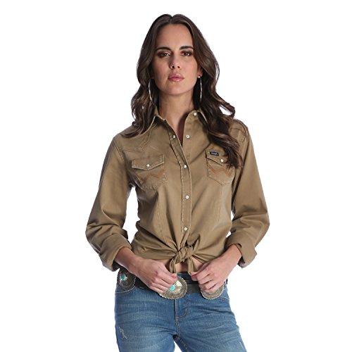 Wrangler Women's Long Sleeve Western Snap Work Shirt, Rawhide, XL