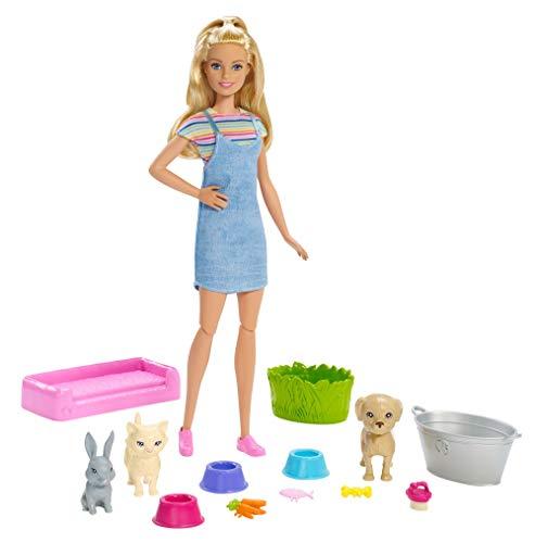 Barbie FXH11 - Badespaß Spielset Tiere und Puppe (blond) mit 2 Haustieren, Puppen Spielzeug ab 3 Jahren