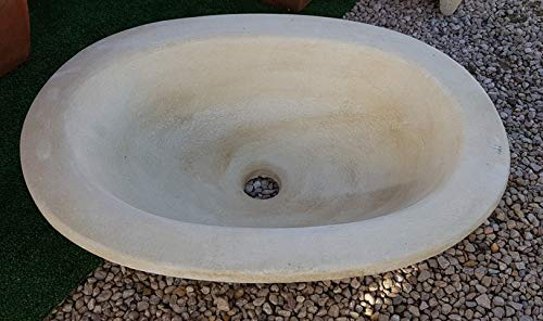 CATART Pila Lavamanos rústica Oval para Interior o Exterior en hormigón-Piedra 56X43X16cm.