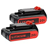 2 Pack LBXR20 Battery 2500mAh Replace for Black and Decker 20V Battery Max Lithium LB20 LBX20 LST220 LBXR2020-OPE LBXR20B-2 LB2X4020 Cordless Tool Battery