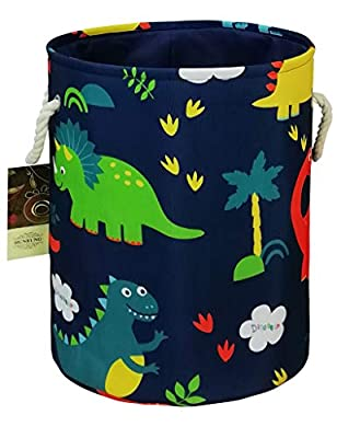HUNRUNG Easter Gift Basket Large Laundry Hamper,Cartoon Organizer Bin for Baby Nursery,Toys,Laundry,Baby Clothing,Gift Baskets (Round Blue Forest Dinosaur)