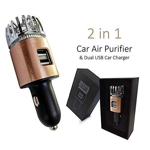 Yiwa Luchtreiniger, adapter voor luchtverfrisser met 2 USB-poorten, ionisator, verwijdert allergenen, rook, diergeuren en levensmiddelen, geuren, Cuivre brillant
