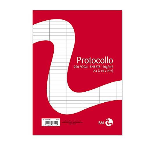 BM BeMore Carta Protocollo A4, 0109291, Rigatura A, Righe con Margini 1° e 2° Elementare, Carta 60 g/mq, Blister da 200 Fogli, (Protocollo 200 fogli)