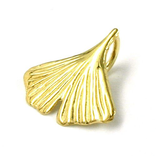 Colgante Gallay, 12 mm Ginkgo hoja 8Kt oro, corchete interior: 3,5 x 3 mm, Peso: 0,18 G, Aleación :{333}, tamaño: 12 x 12