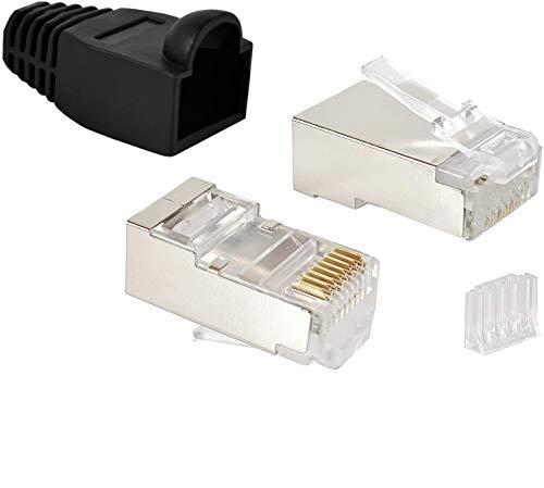 VESVITO 20er Pack RJ45 Stecker CAT 6 STP Crimpstecker für CAT6 CAT5e CAT6A Netzwerkkabel Verlegekabel AWG 24-27, für CAT7 Patchkabel AWG 27, Adern Ø 0,9-1,1 mm Netzwerkstecker Ethernet Kabel, schwarz