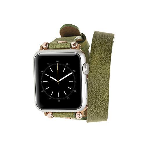 Renna Cinturino in vera pelle compatibile con Apple Watch Serie SE, 6 e 5/4/3/2/1, realizzato a mano, 44 mm, 42 mm, 40 mm, 38 mm, per uomo e donna (38-40 mm, doppio cinturino verde, blu Conector)