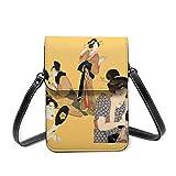 Bolso cruzado pequeño para mujer, diseño de geisha japonés, de piel sintética suave, multiusos, para el hombro