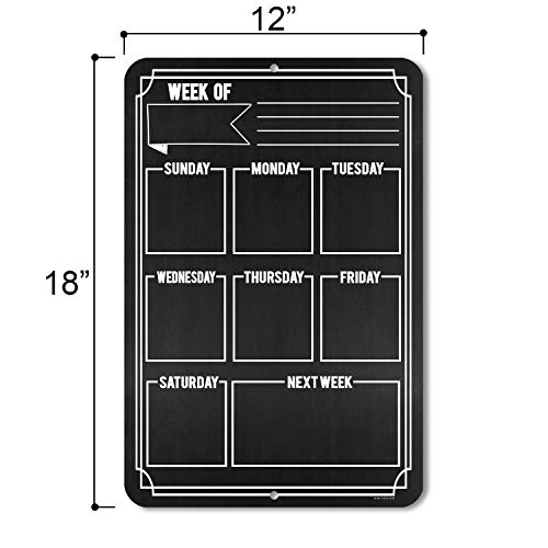 Honey Dew Gifts Chalkboard Style Weekly Calendar - Durable 12 inch by 18 inch Metal Tin Sign - Hang on Your Wall Photo #3