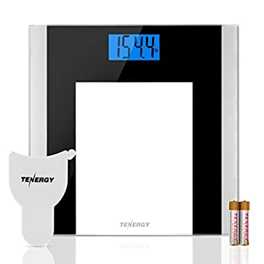 Tenergy Body Weight Scale with Step-On Technology, Tempered Glass Platform w/Backlit LCD, High Precision Digital Bathroom Scale, 400-Pound Capacity, Bonus Body Measuring Tape & Batteries Included