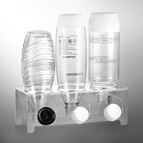 ecooe Abtropfhalter aus Acrylglas Abtropfständer für z.B. SodaStream und Emil Flaschen Platz Für 3 Flaschen und 3 Deckel Spülmaschinenfest