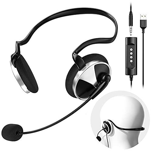 Newaner Cuffie USB/3.5mm Cablate per PC con Microfono cancellazione rumore controllo volume,...