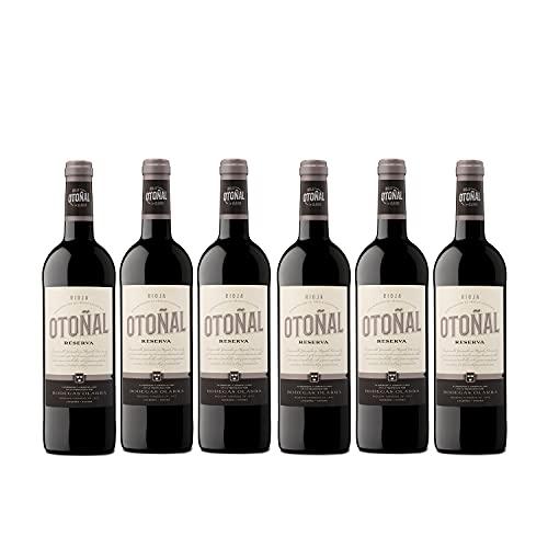 Otoñal - Vino Tinto Reserva, DOCa La Rioja, Vino Elegante y Actualizado de Bodegas Olarra, Pack de 6 Botellas de 750 ml