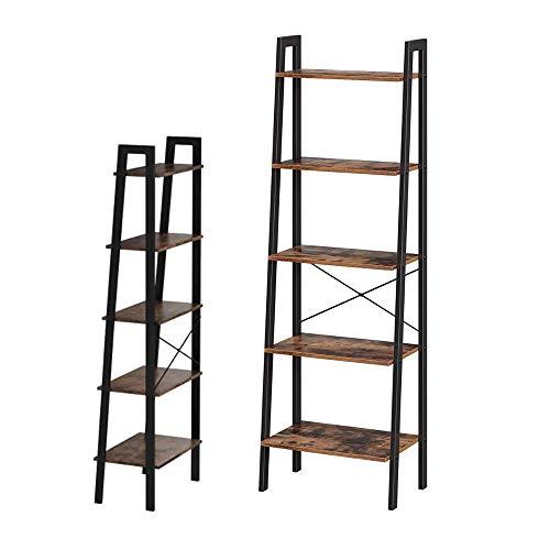 Piushopping Moderne Wandregal, 5 Regale, aus Holz und Eisen, Industrie-Stil – 56 x 34 x 172
