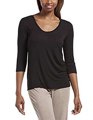 HUE Women's SleepWell with TempTech 3/4 Sleeve Pajama Sleep Top, Black, Small by HUE