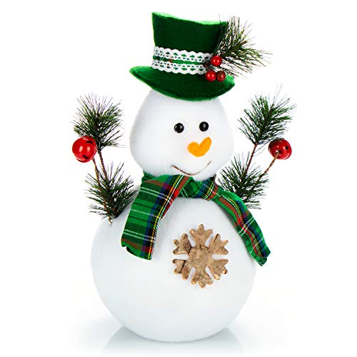 com-four® Schneemann Figur Größe L, süße Weihnachtsdeko, optimal als Tischdeko zur Adventszeit, schöne Dekofigur für Innen, 28,5 cm (grün-weiß - L)