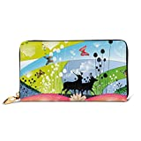 Women's Long Leather Card Holder Purse Zipper Buckle Elegant Clutch Wallet, Two Reindeer Walking In Spring with Butterflies Flowers Hearts Pastoral Love Graphic,Sleek and Slim Travel Purse