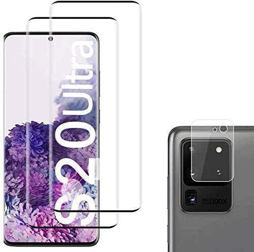 Panzerglas Schutzfolie für Samsung Galaxy S20 Ultra [2 Stück],+Linse Schutzfolie,Voller Bildschirmschutz, Anti-Öl, Blasen & Fingerabdruck, Bildschirmschutzfolie für Samsung Galaxy S20 Ultra - (6.9