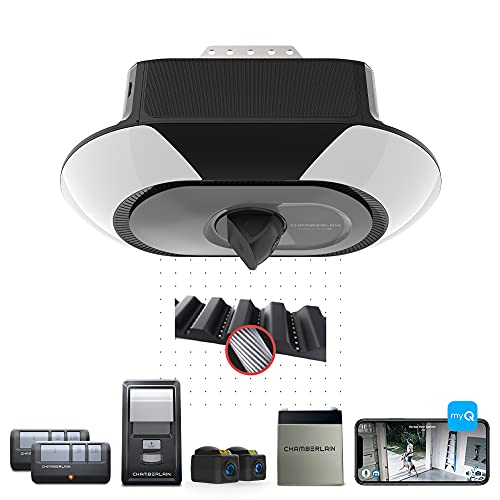 Chamberlain B6753T Smart Video Streaming and Advanced Corner LED Lighting-myQ Smartphone Controlled-Ultra Quiet, Strong Belt Drive and MAX Lifting Power, Blue Garage Door Opener