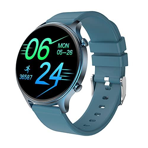 Reloj Inteligente, Relojes para Hombres Mujeres Fitness Tracker Monitor de Presión Arterial Monitor de Oxígeno en la Sangre Medidor de Frecuencia Cardíaca Monitor IP68 (Azul)